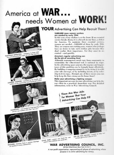 """Image via <a rel=""""nofollow"""" href=""""https://www.adcouncil.org/Our-Campaigns/The-Classics/Women-in-War-Jobs"""" target=""""_blank"""">Ad"""