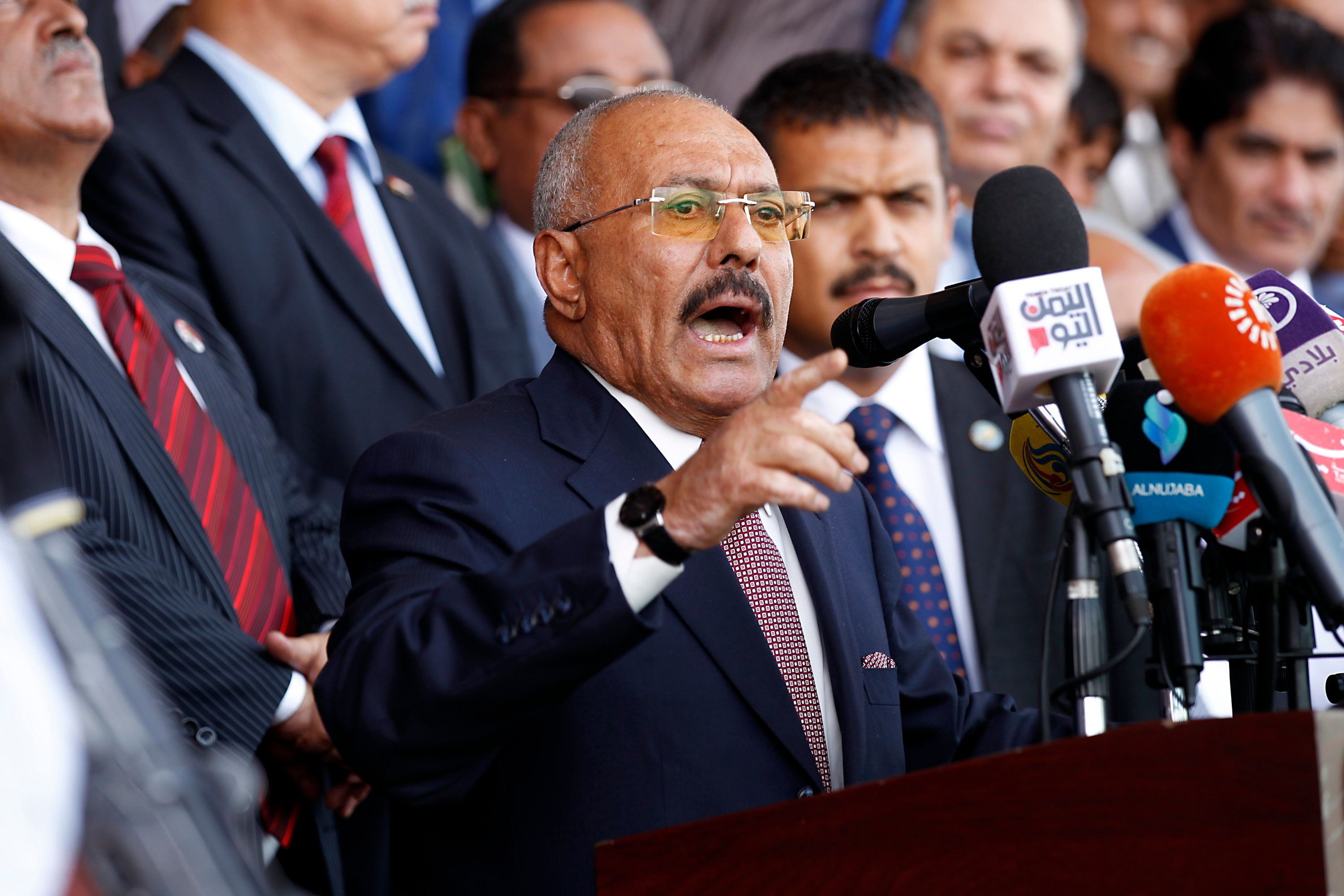 Ali Abdullah Saleh addresses supporters at a rally in