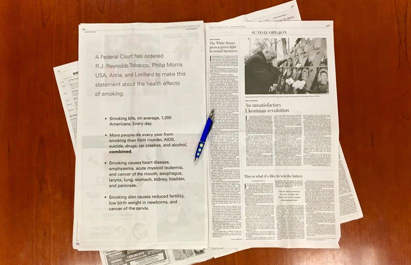 Full page corrective statement advertisement in the Washington Post.
