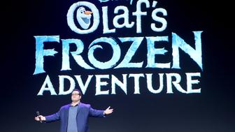 ANAHEIM, CA - JULY 14:  Actor Josh Gad of OLAF'S FROZEN ADVENTURE took part today in the Walt Disney Studios animation presentation at Disney's D23 EXPO 2017 in Anaheim, Calif. OLAF'S FROZEN ADVENTURE will be released in U.S. theaters on November 22, 2017.  (Photo by Jesse Grant/Getty Images for Disney)