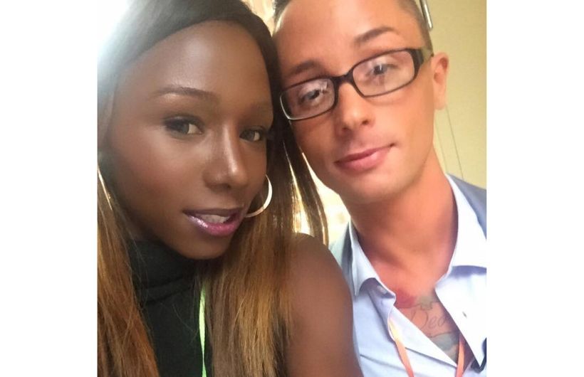 """Daniella Carter (left) and Kristopher Sharp (right) pose for a selfie before co-hosting the True Colors Fund annual """"State of"""