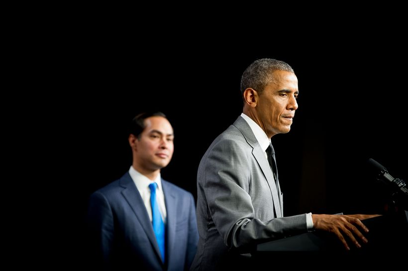 President Obama with Housing Secretary Julián Castro at the Department of Housing and Urban Development on July 31, 2014.