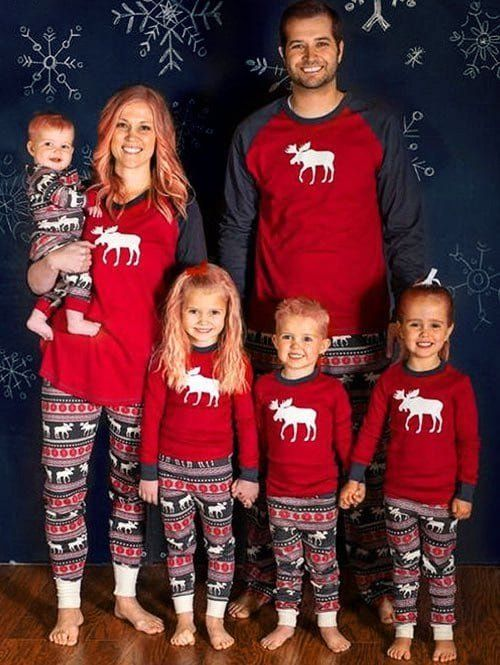 elk matching family christmas pjs set
