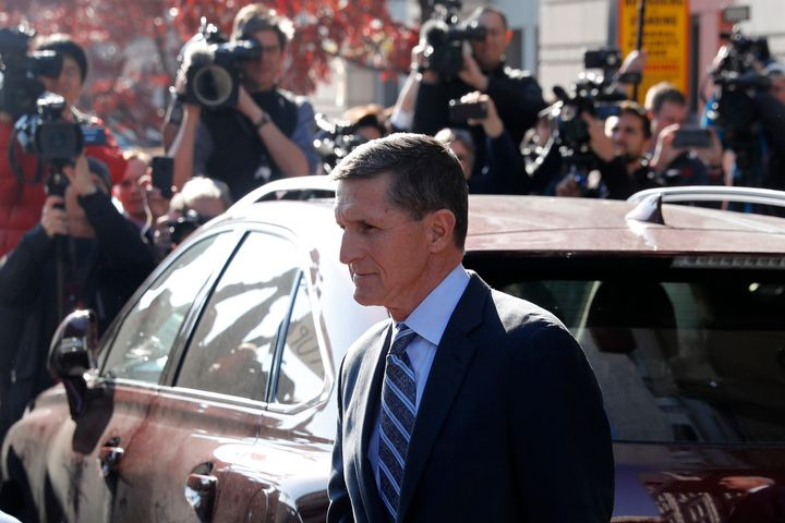 Former national security adviser Michael Flynn departs U.S. District Court on Dec. 1, 2017.