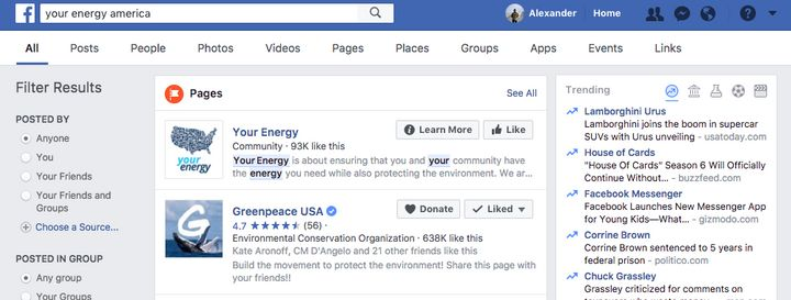 "A screenshot of results from searching the phrase ""Your Energy America"" on Facebook."