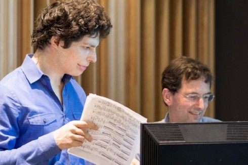 Augustin Hadelich listening to playback