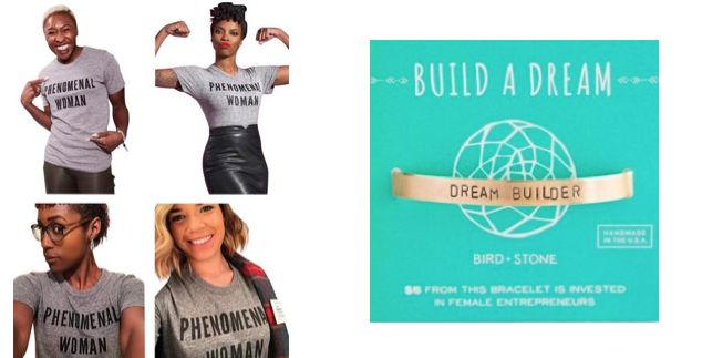 Phenomenal Woman shirts and Dream Builder gold cuff bracelet.