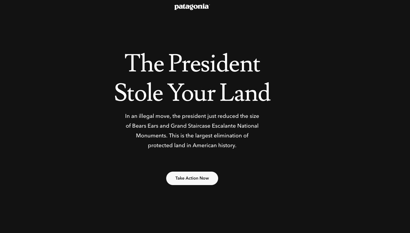 Patagonia's home page reflected the company's anger over the reduction of federal lands.