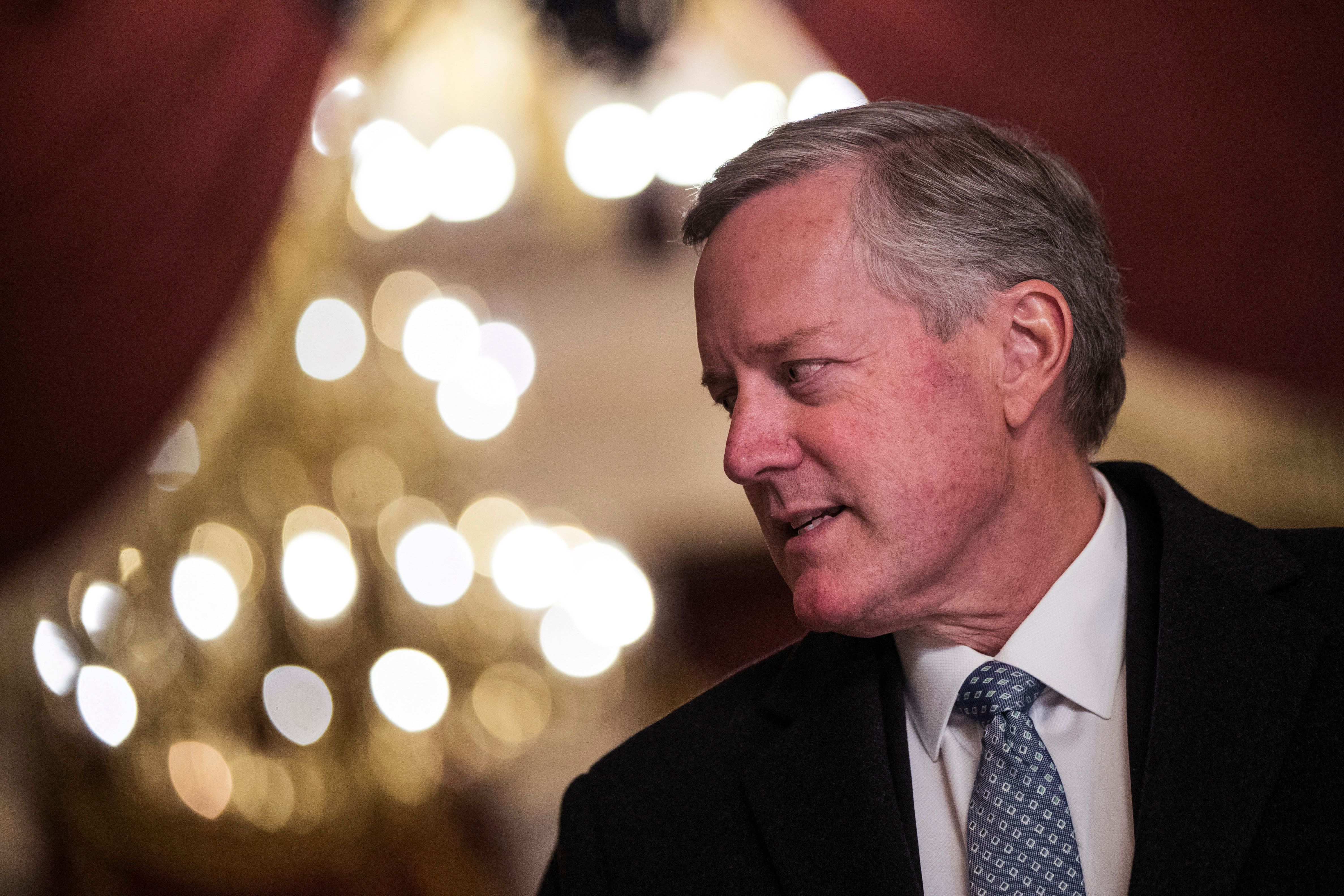 WASHINGTON, DC - DECEMBER 4: House Freedom Caucus chairman Rep. Mark Meadows (R-NC) speaks to reporters on Capitol Hill, December 4, 2017 in Washington, DC. The House voted to formally send their tax reform bill to a joint conference committee with the Senate, where they will try to merge the two bills. (Drew Angerer/Getty Images)