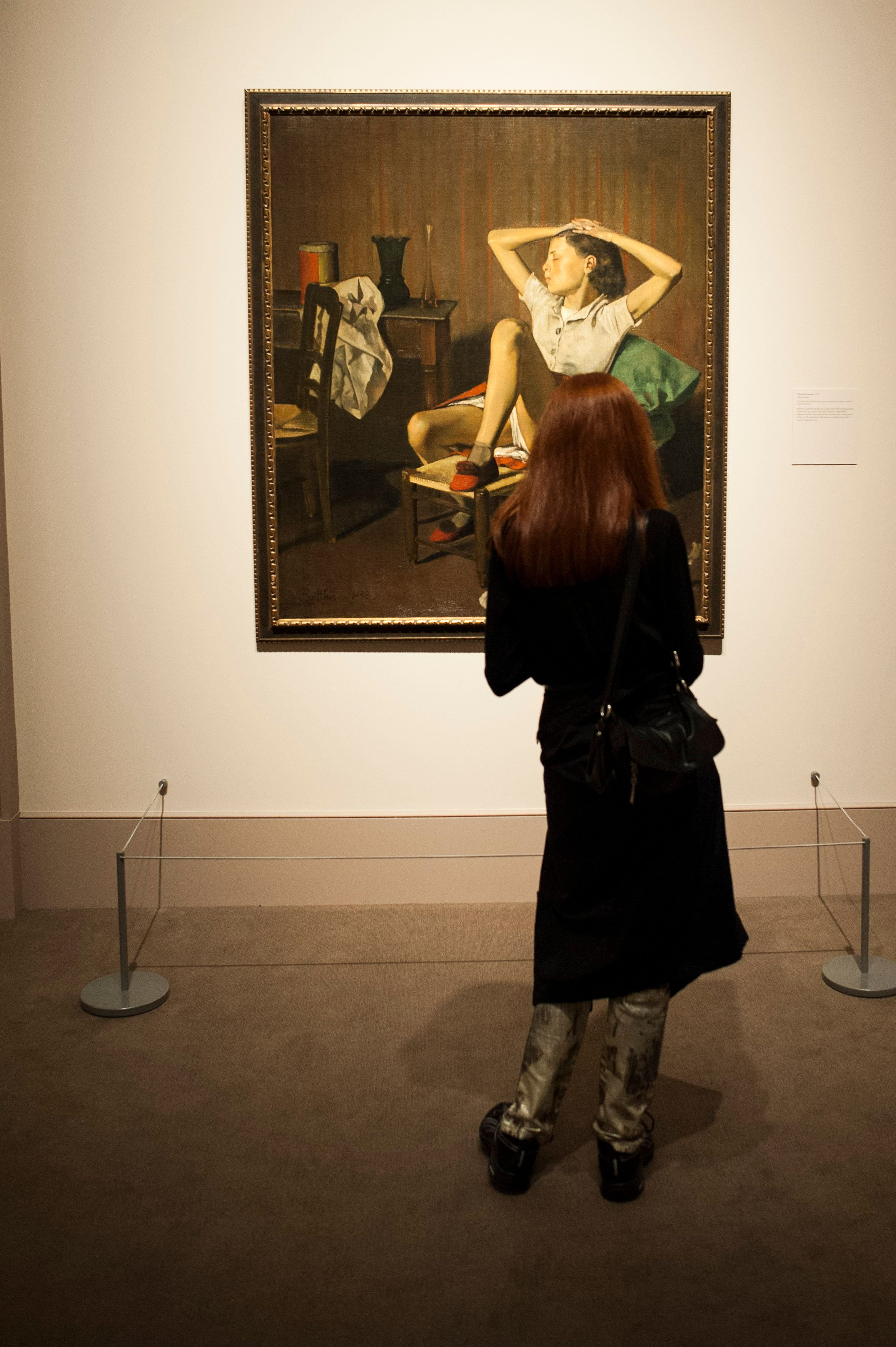 Art lover at New Yorks Metropolitan Museum of Art takes a look at Balthus Therese Dreaming