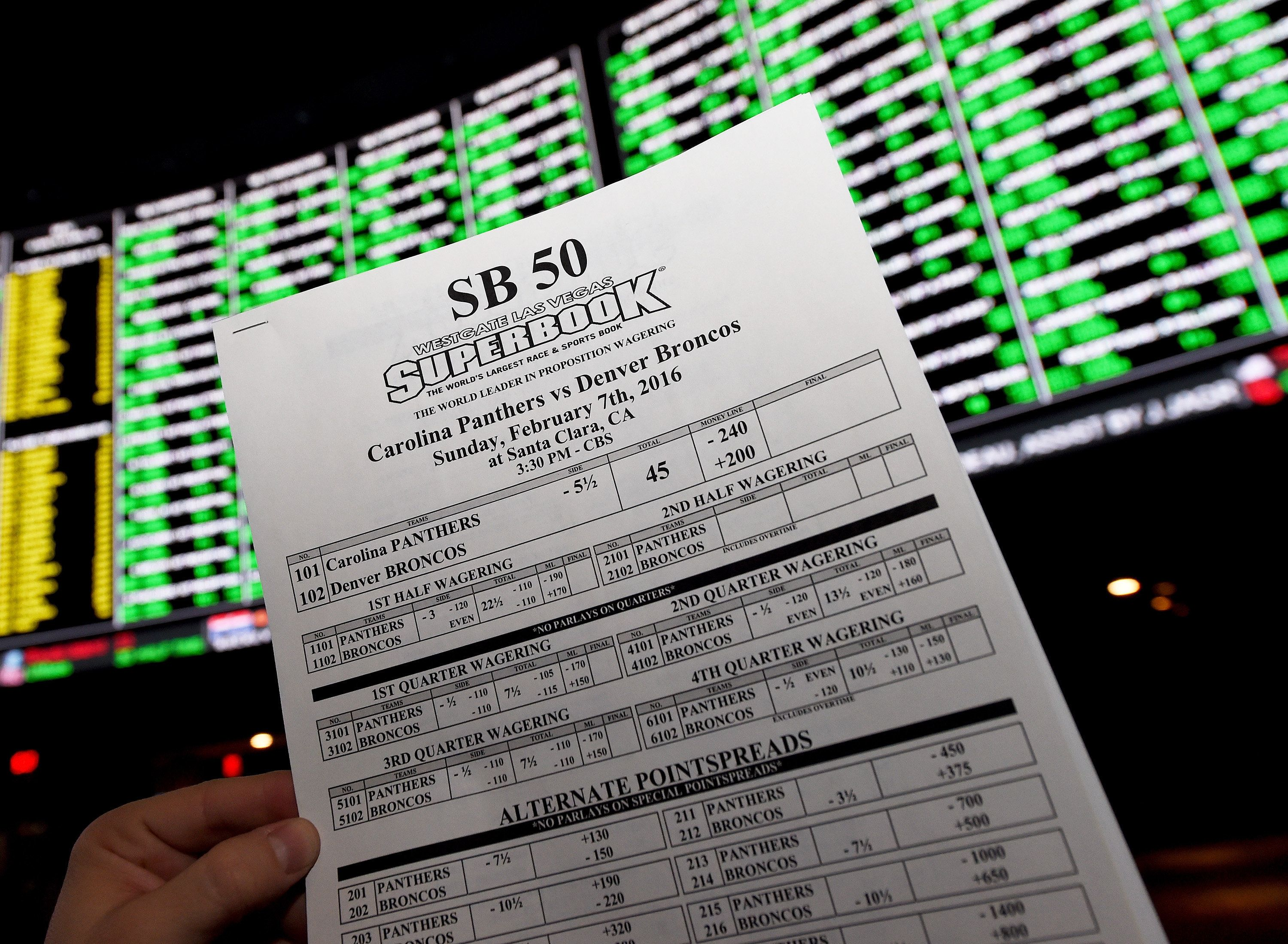 LAS VEGAS, NV - FEBRUARY 02:  A betting sheet for Super Bowl 50 between the Carolina Panthers and the Denver Broncos is displayed at the Race & Sports SuperBook at the Westgate Las Vegas Resort & Casino on February 2, 2016 in Las Vegas, Nevada. The newly renovated sports book, currently offering nearly 400 proposition bets for the Super Bowl, has the world's largest indoor LED video wall with 4,488 square feet of HD video screens measuring 240 feet wide and 20 feet tall.  (Photo Illustration by Ethan Miller/Getty Images)
