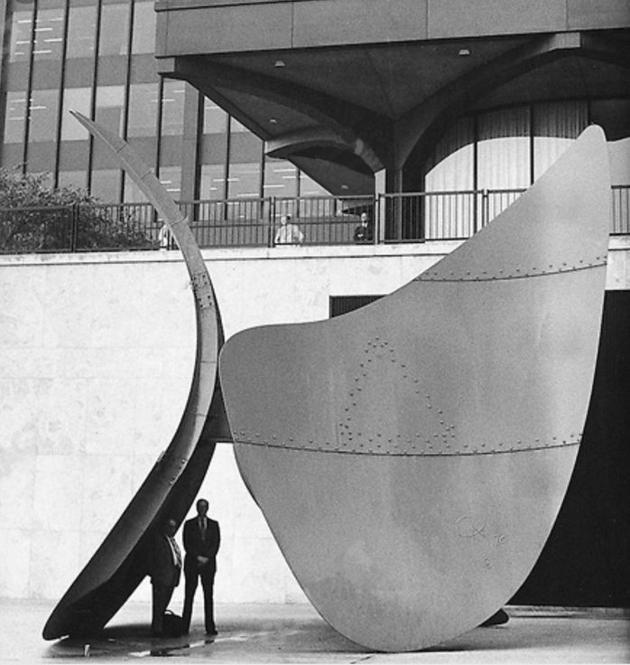 Alexander Calder, <em>Bent Propeller,</em> 1970. Calder's sculpture was made to resemble an airplane propeller before it was