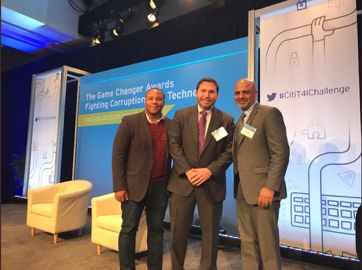 ID Founder and CEO Blake Hall (center), IBM Vice President Rizwan Khaliq (right), and me (left)