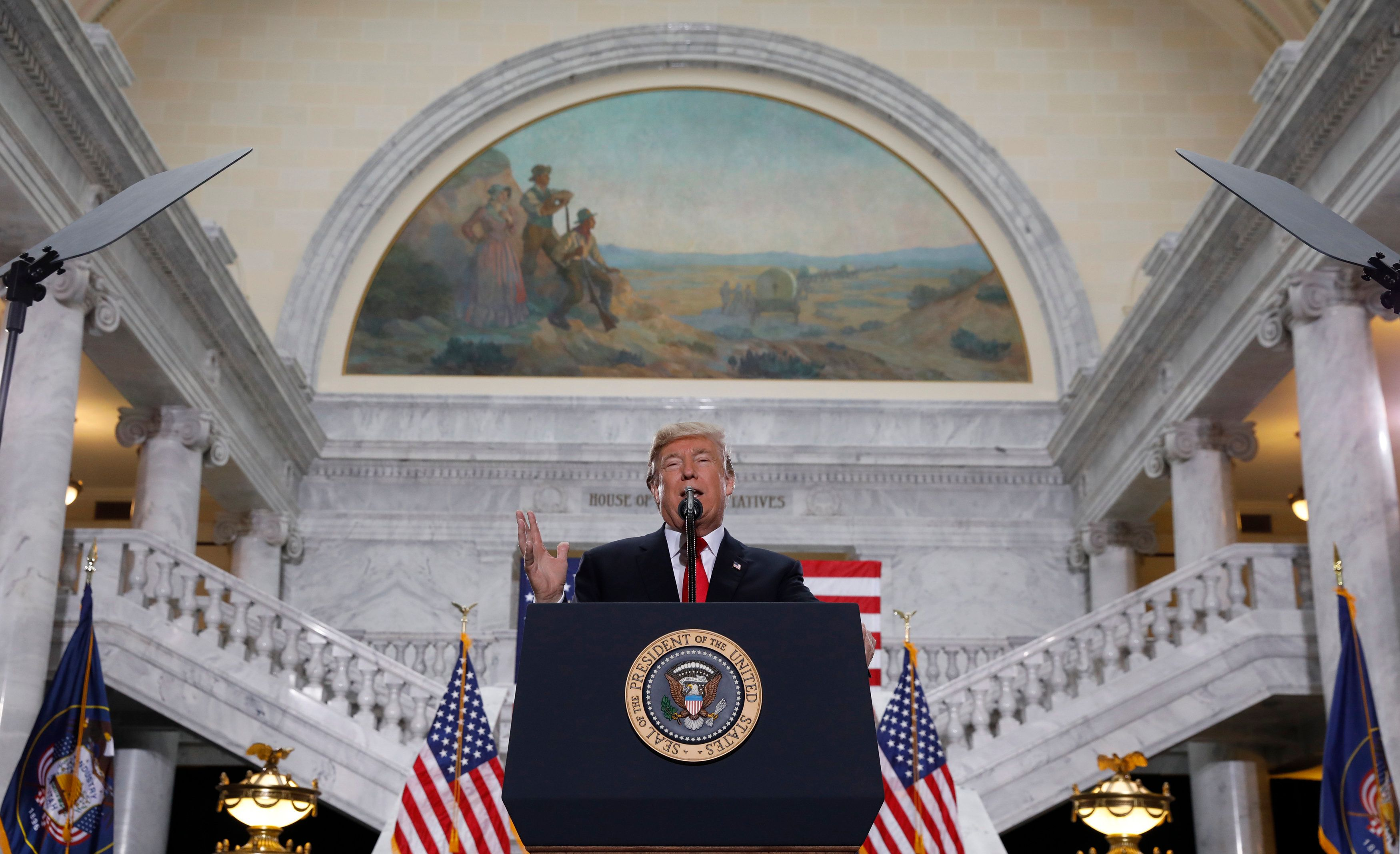 U.S. President Donald Trump speaks at the Utah State Capitol, after he called for a 90 percent reduction in the size of Utah's Bears Ears National Monument and 50 percent reduction to the state's Grand Staircase Escalante National Monument,  in Salt Lake City, Utah, U.S., December 4, 2017. REUTERS/Kevin Lamarque