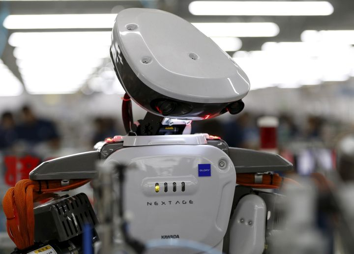 A robot on the assembly line of a factory in Kazo, north of Tokyo.