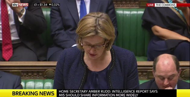 Home Secretary Amber Rudd said that blame for the string of terror attack to hit Britain this year 'lies...