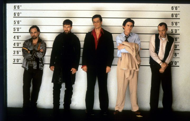 "Kevin Pollak, Stephen Baldwin, Benicio del Toro, Gabriel Byrne and Kevin Spacey in a scene from the 1995 film ""The Usua"