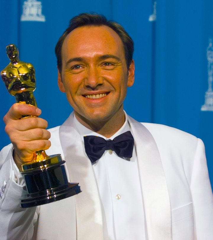 "Spacey holds his Oscar for best supporting actor for ""The Usual Suspects,"" March 25, 1996."