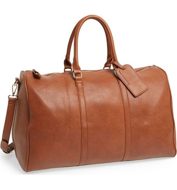 """Upgrade your weekend travel look with a refined faux leather travel bag. Get it <a href=""""https://shop.nordstrom.com/s/sole-so"""