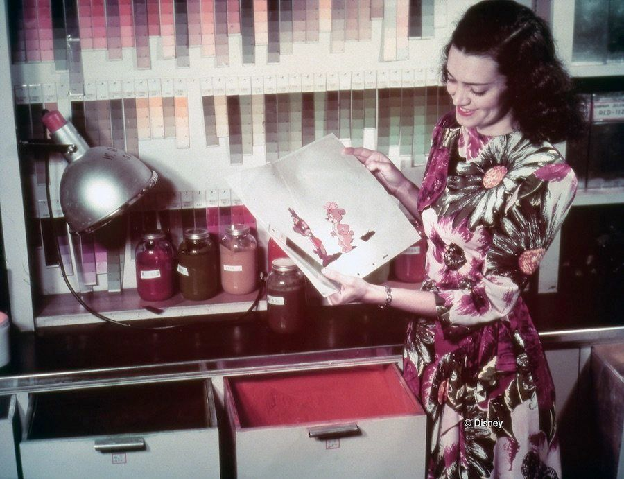 "Color Model Supervisor Helen Siebert works on ""Fun & Fancy Free,"" circa 1947."
