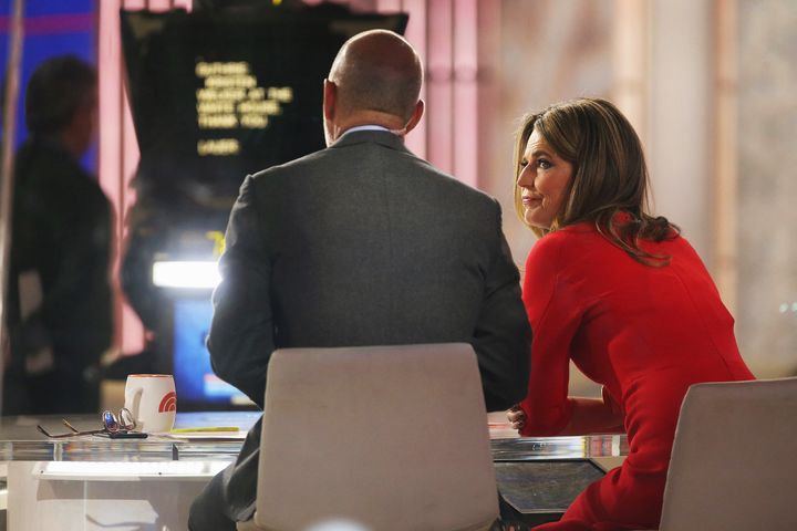 "Hosts Matt Lauer and Savannah Guthrie on the set of NBC's ""Today"" show at Rockefeller Plaza on Nov. 17. Lauer was f"