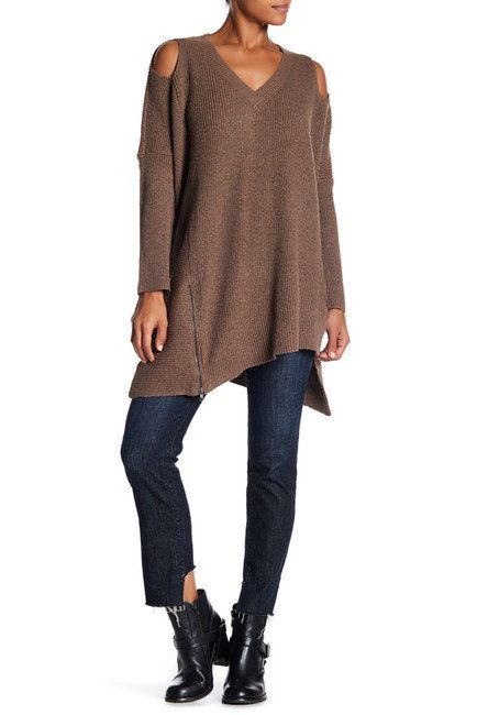 """Oversized can be sexy with a simple <a href=""""https://www.nordstromrack.com/shop/product/2102184/very-j-cold-shoulder-v-neck-s"""