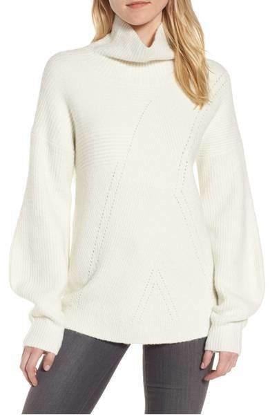 """Bloused sleeves and a slight funnel neck make this a <a href=""""https://shop.nordstrom.com/s/trouve-funnel-neck-sweater/4690470"""