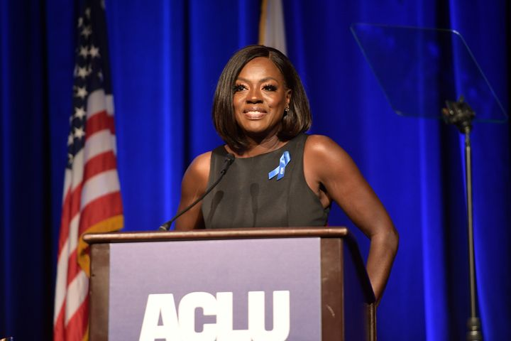 Honoree Viola Davis speaks at the ACLU Bill of Rights dinner on Dec. 3. in Beverly Hills, California.