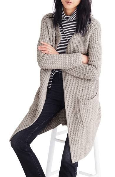 """This <a href=""""https://shop.nordstrom.com/s/madewell-waffle-stitch-sweater-jacket/4782085?origin=keywordsearch-personalizedsor"""