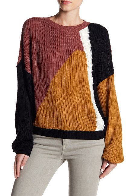 """Keep your look mod with <a href=""""https://www.nordstromrack.com/shop/product/2252213/abound-patchwork-knit-sweater?color=BRGND"""