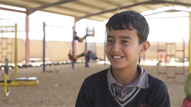 Usama's school was reduced to a pile of rocks mid-way through a football match with his friends...