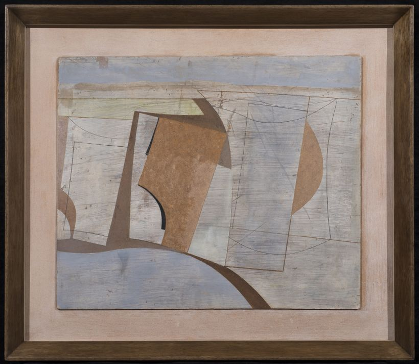 Ben Nicholson, <em>Western Landscape, </em>1960, Oil & pencil on board laid on panel, 64.5 x 75.4 x 0.0 cm (25¼ x 29¾ x 0