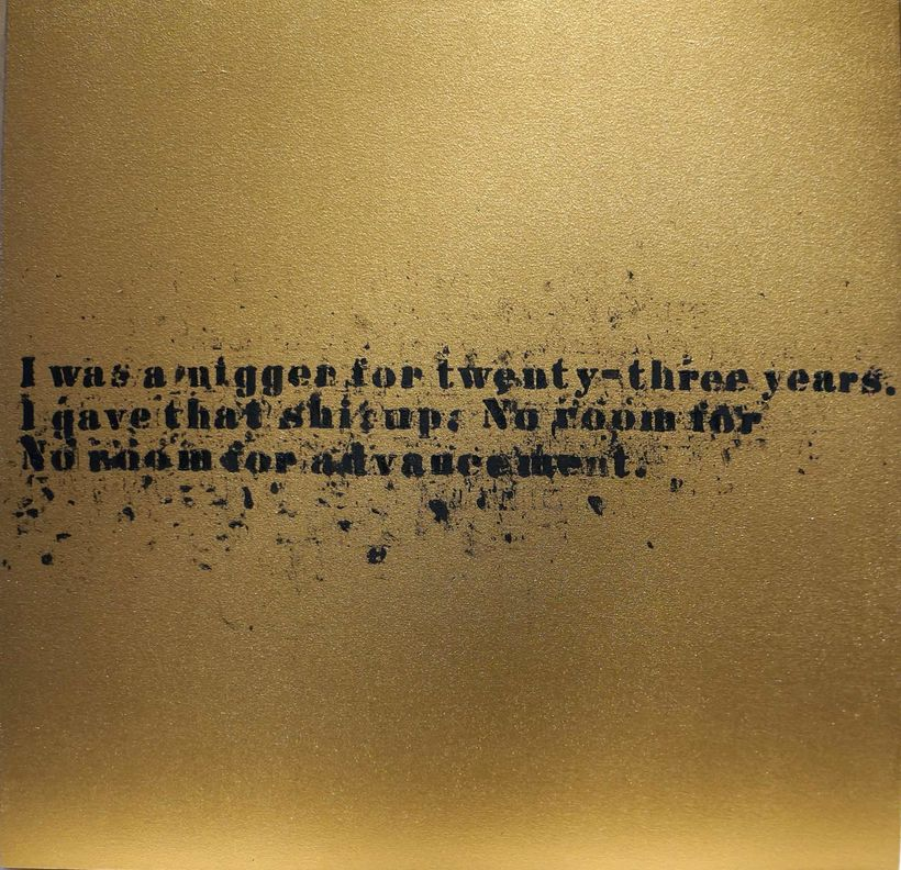 Glenn Ligon, <em>No Room (Gold) #25</em>, 2007, Oil and acrylic on canvas, 32 x 32 in. (81.3 x 81.3 cm).