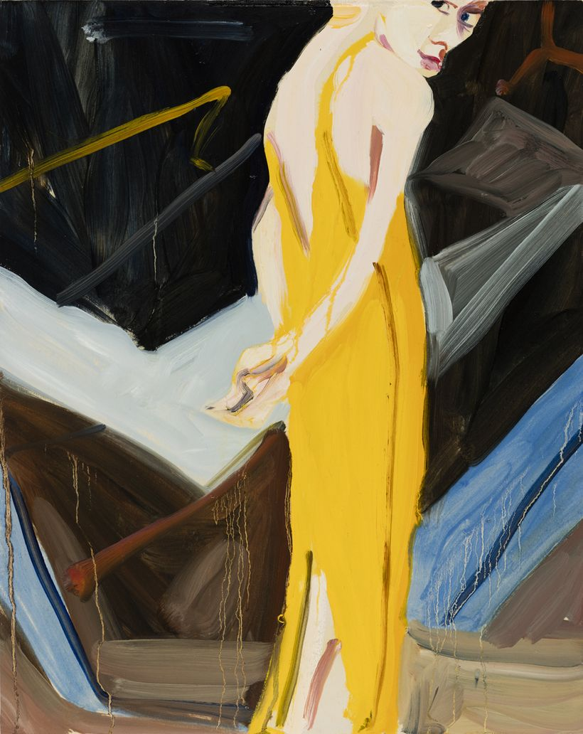 Chantal Joffe, <em>Yellow Evening Dress</em>, 2016, Oil on board, 50 x 40 cm (19.69 x 15.75 in).