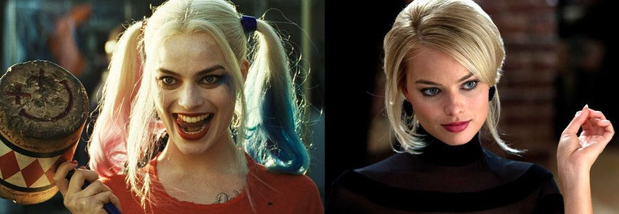 "Margot Robbie in, left, ""Suicide Squad"" and ""The Wolf of Wall Street."""