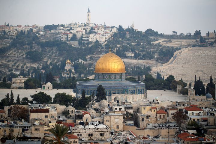 A general view shows part of Jerusalem's Old City and the Dome of the Rock on December 5, 2017.