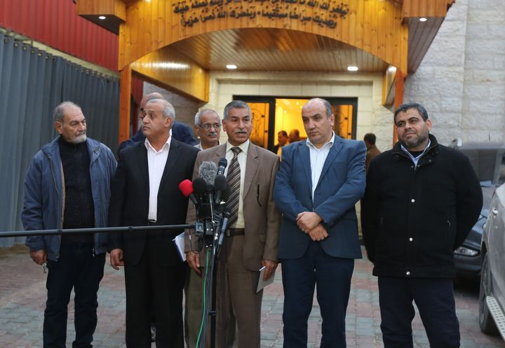 A member of the Political Bureau of the Democratic Front for the Liberation Of Palestine, Talal Abu Zarifa (third from right)