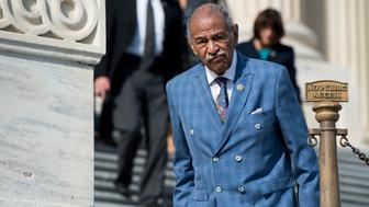 UNITED STATES - NOVEMBER 3: Rep. John Conyers, D-Mich., walks down the House steps after voting in the Capitol on Friday, Nov. 3, 2017. (Photo By Bill Clark/CQ Roll Call)