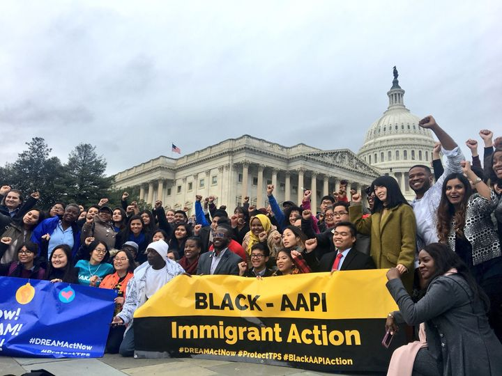 Asian-American and black activists rally to call for a clean Dream Act and a permanent solution for Tempo