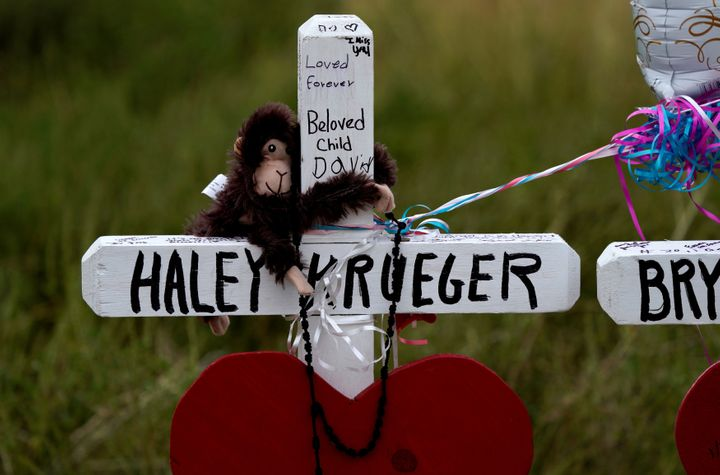 Homemade crosses honor the victims of the Nov. 5 shooting at First Baptist Church in Sutherland Springs, Texas.
