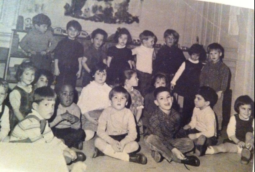 <em>Our nursery school photo. Dan is standing on the far right and I am sitting on the far right.</em>