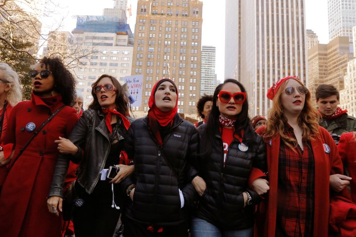 "March 8, 2017, saw a ""Day Without A Woman"" march on International Women's Day in New York City."