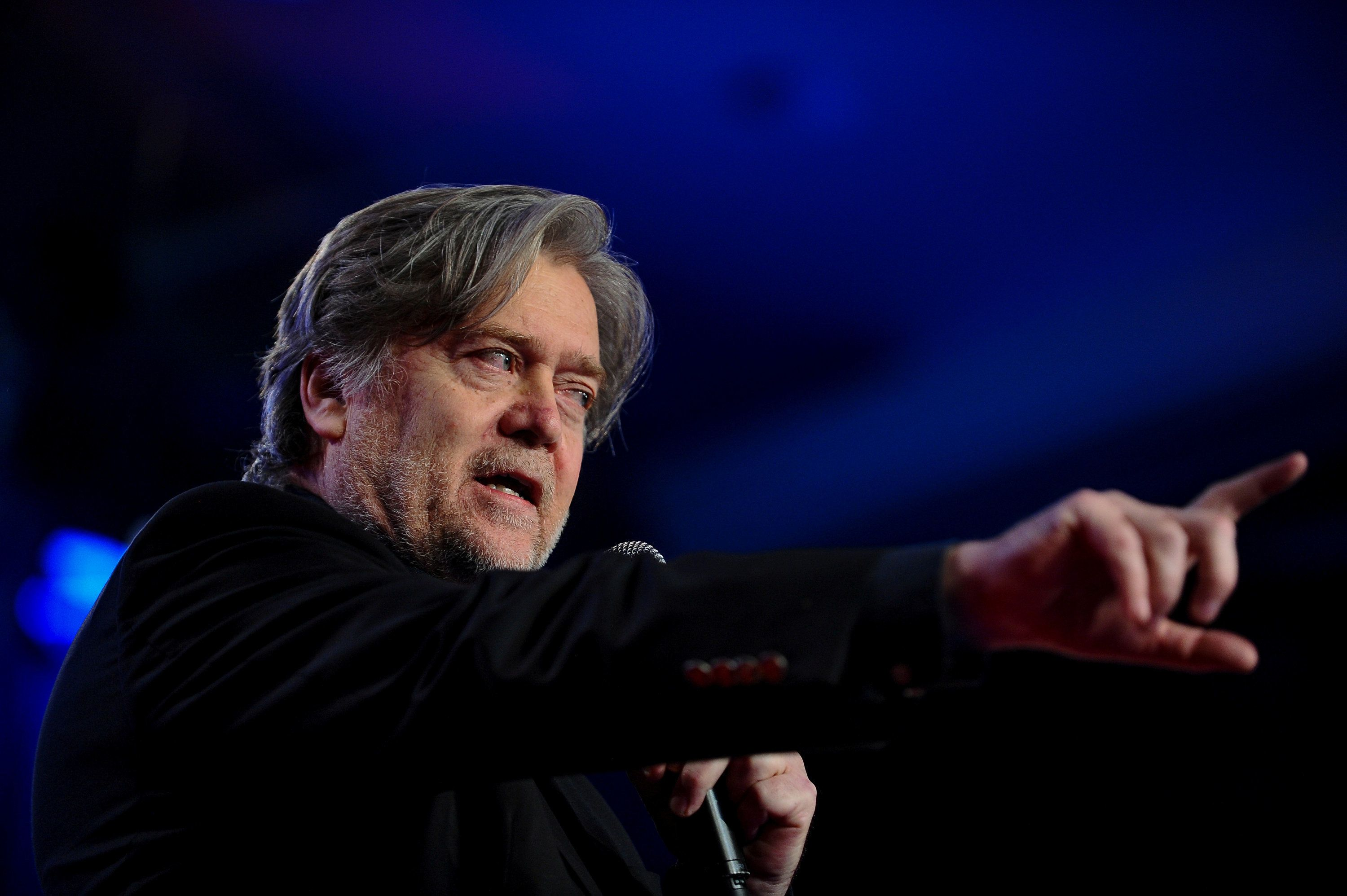 Former White House Chief Strategist Steve Bannon delivers remarks during the Value Voters Summit at the Omni Shoreham Hotel in Washington, U.S., October 14, 2017. REUTERS/Mary F. Calvert