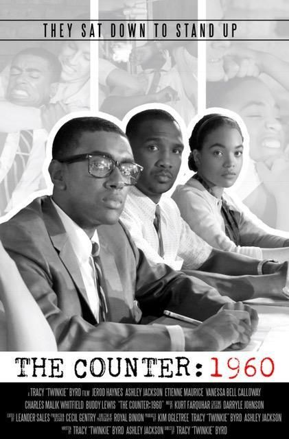 """The Counter: 1960"" film poster featuring lead actors from right to left: Ashley Jackson, Jerod Haynes, and Etienne Maurice."