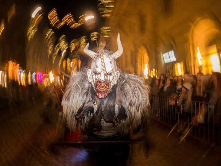 A celebrant gets into the Krampus spirit in Graz on Dec. 3, 2017.