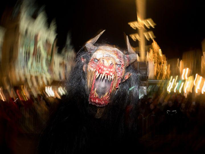 Another reveler enjoys the Graz Krampusnacht party on Dec. 3.