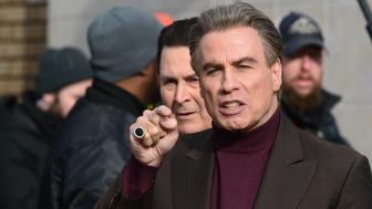 Filming 'The Life and Death of John Gotti,' John Travolta on set with actors Leo Rossi (l) and Chris Kerson (r) on Bath Avenue and 17th Avenue in Bensonhurst Bklyn February 21, 2017. (Photo by Todd Maisel/NY Daily News via Getty Images)