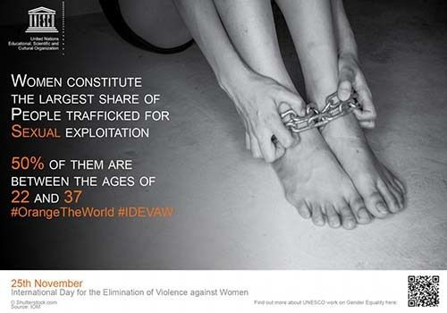 <em>Screen shot of UNESCO poster marking International Day for the Elimination of Violence Against Women</em>