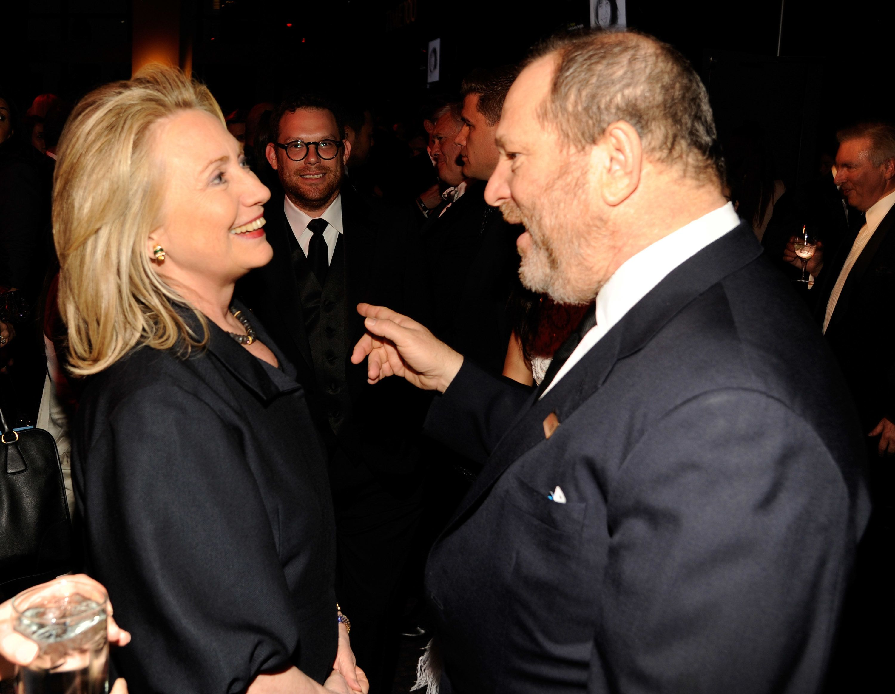 Hillary Clinton and Harvey Weinstein chat at a Lincoln Center gala in New York in 2012.