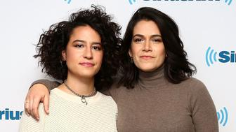 NEW YORK, NY - DECEMBER 05:  (EXCLUSIVE COVERAGE) (L-R) Actresses Ilana Glazer and Abbi Jacobson visit the SiriusXM studios on December 5, 2017 in New York City.  (Photo by Astrid Stawiarz/Getty Images)